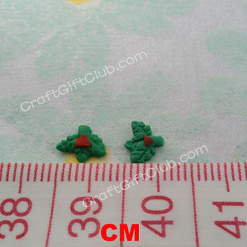 50 Green Christmas Leaves Clay Nail Art Scrapbooking Decoration 3D