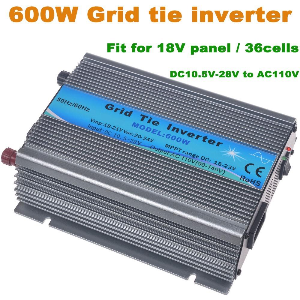 600W Grid tie inverter,120VAC(90-140VAC) output,18V panel/36cells,solar inverter,pure sine wave inverter, with MPPT function(China (Mainland))