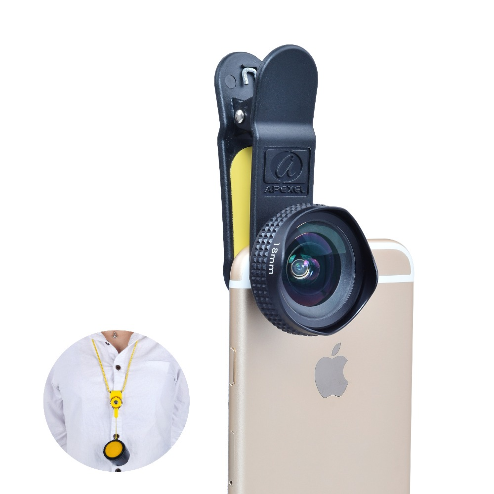 Apexel Optic Pro Lens 18MM HD Wide Angle Cell Phone Camera Lens Kit 0.63x More Landscape for iPhone, Samsung HTC & Smarphones 18(China (Mainland))