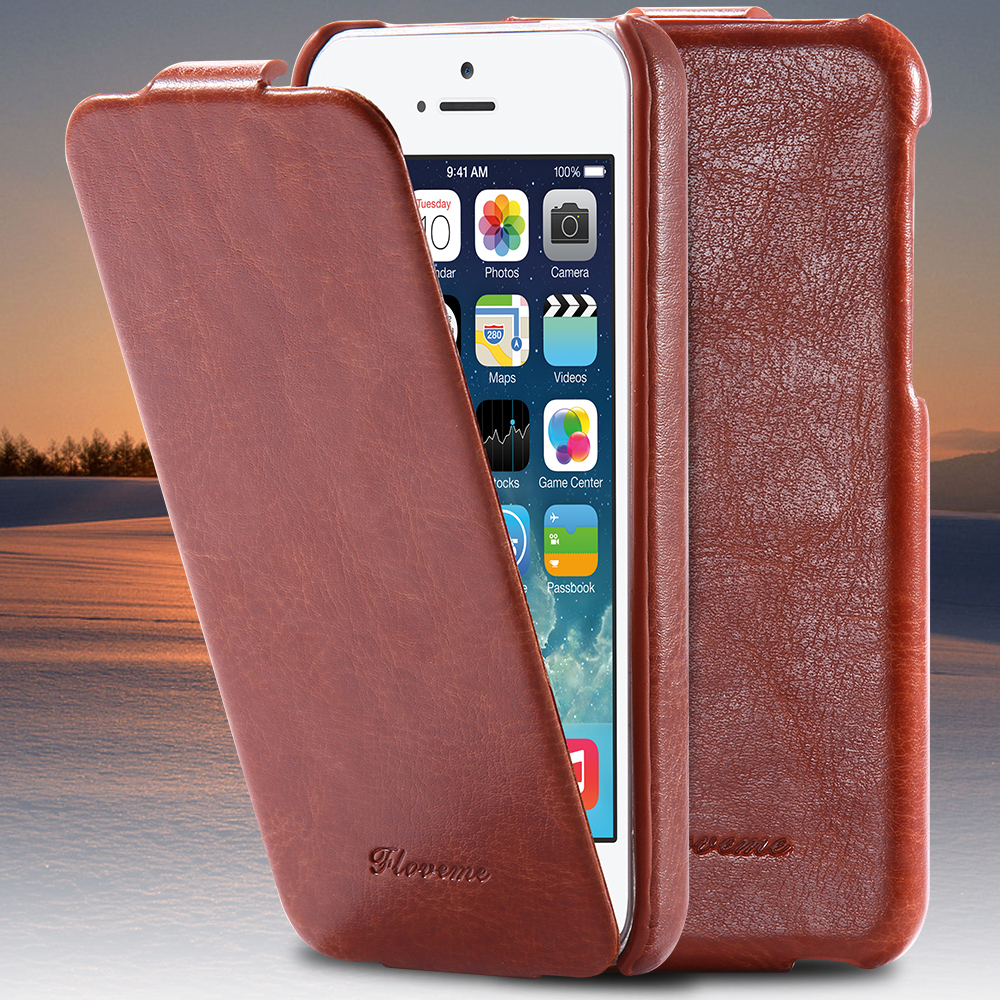 I4/I5 Luxury FLOVEME Brand Crazy Horse Skins Vertical Flip Leather Case For iPhone 5 5S 5G For iPhone SE Full Protective Cover(China (Mainland))
