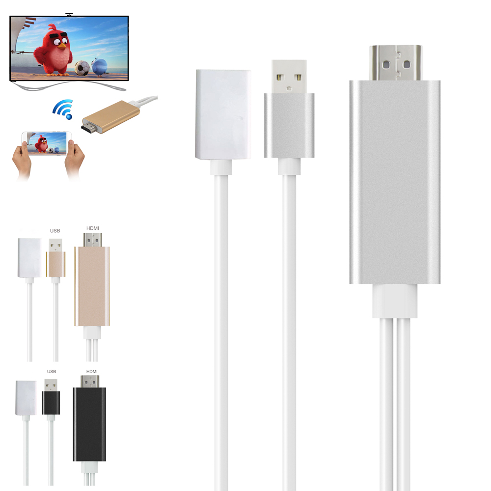 New Plug and Play 8pin USB to HDMI Adapter HDTV Audio AV Cable for iPad / iPod / iPhone 5/5S/6/6S/7/7S Plus(China (Mainland))