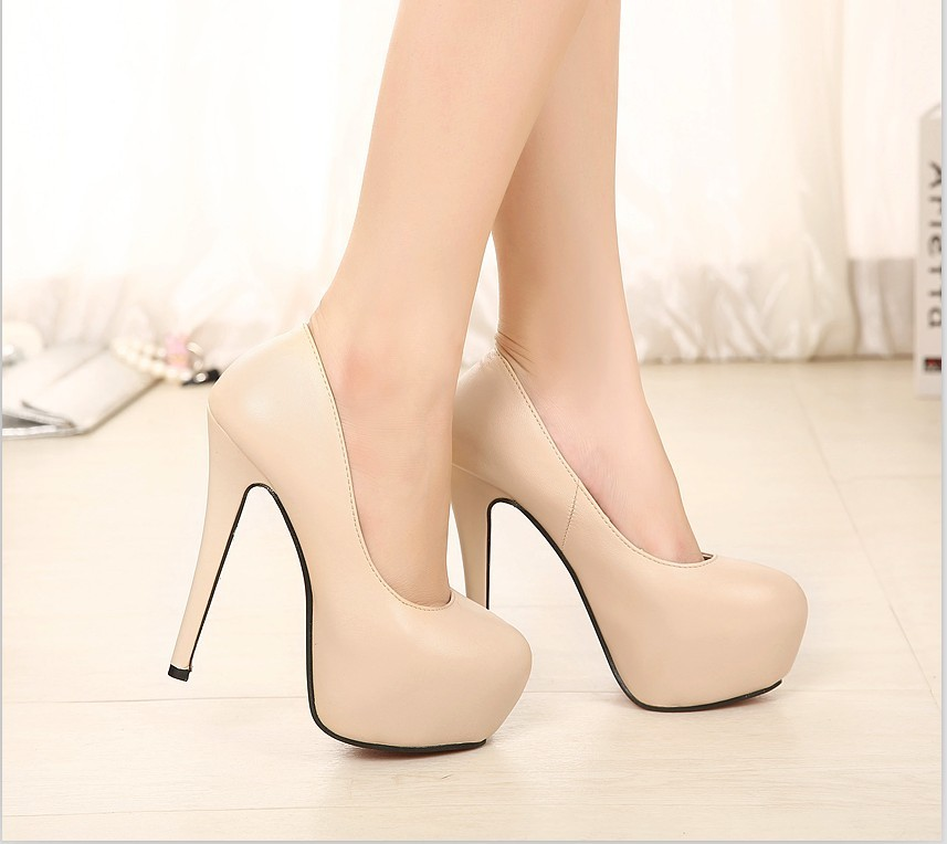 14cm spring autumn single shoes fashion water ultra high heels round toe nude color ol women's thin - Love beauty foot store