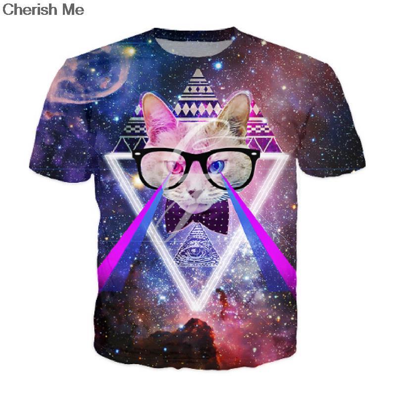 2016 Newest Casual Tshirt Cat Galaxy Space Cat Laser eye Hot Design 3d t shirt Men/Women's Short Sleeve t-shirt Hot Tops(China (Mainland))