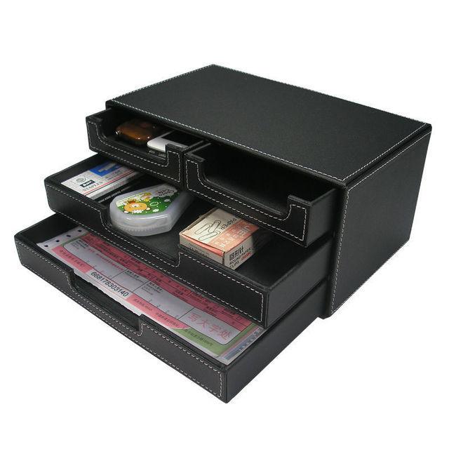 Trois couche 4 drawer en cuir papeterie de bureau tiroir for Articles papeterie bureau