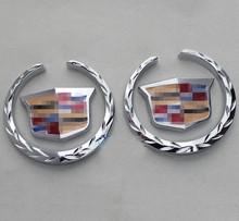2PCS 6×5.5CM Car Refitting Decorative Metal Badge Emblem Side Sticker Wheatear Style Chrome New
