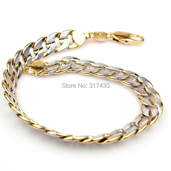 low price 2-tone 18k white/yellow gold filled mens womens bracelet&bangles GF jewelry - XP (No Min Order store)