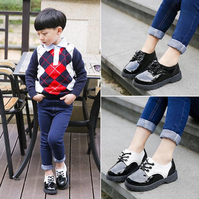 2016 весной детская обувь мальчики мода лакированные туфли девушки нить пустой кроссовки мальчиков кроссовки дети студент обувь 21 - 37