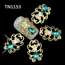 DIY Nails Tools Gold Hollow Out Glitters Green Rhinestones For 3D Nail Art Decorations TN1153