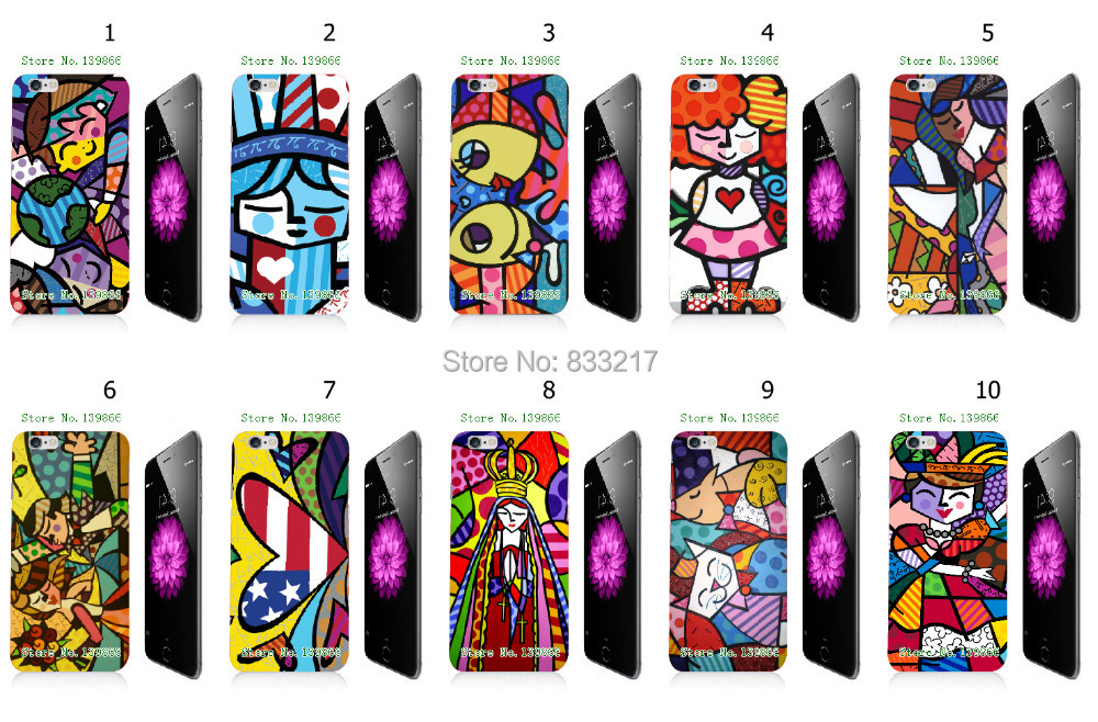 Game 10 pcs/lots Romero Britto Girl hard White case cover iphone 6 + - customizecases store