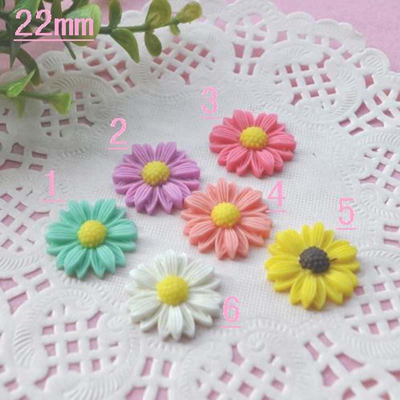 mixed colors chrysanthemum flower resin flatback cabochon for DIY Embellishments 22mm 60pcs YZR53(China (Mainland))