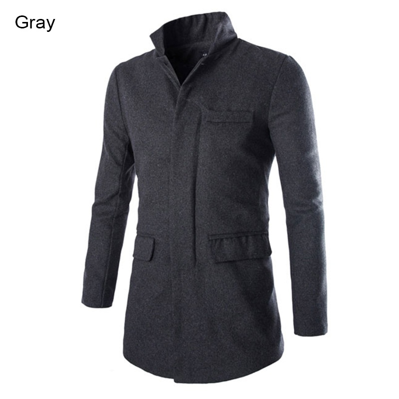 New Dress Fashion 2015 Brand Stylish Stand Collar Long Trench Coat Men Long Slim Fit Solid Wool Long Men Trench Overcoat M-XXL