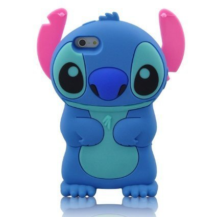 Cartoon 3D Stitch Soft Silicone Case Cover With Movable Ear Flip for Iphone 6S plus 5.5 Inch free shopping(China (Mainland))