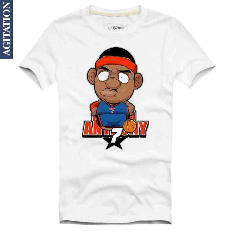 Carmelo Kyam Anthony 7 Melo Cartoon Print HOT Original Design Cotton Fashion Style Casual T-shirt T shirt FREE SHIPPING(China (Mainland))