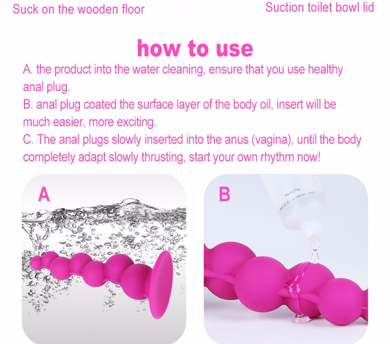 Beginners' Anal Pleasure Series-Pink Silicone Flexible Anal Beads Sex toys Butt Plug Insert w/ Strong Sucker, Unisex Sex Toys