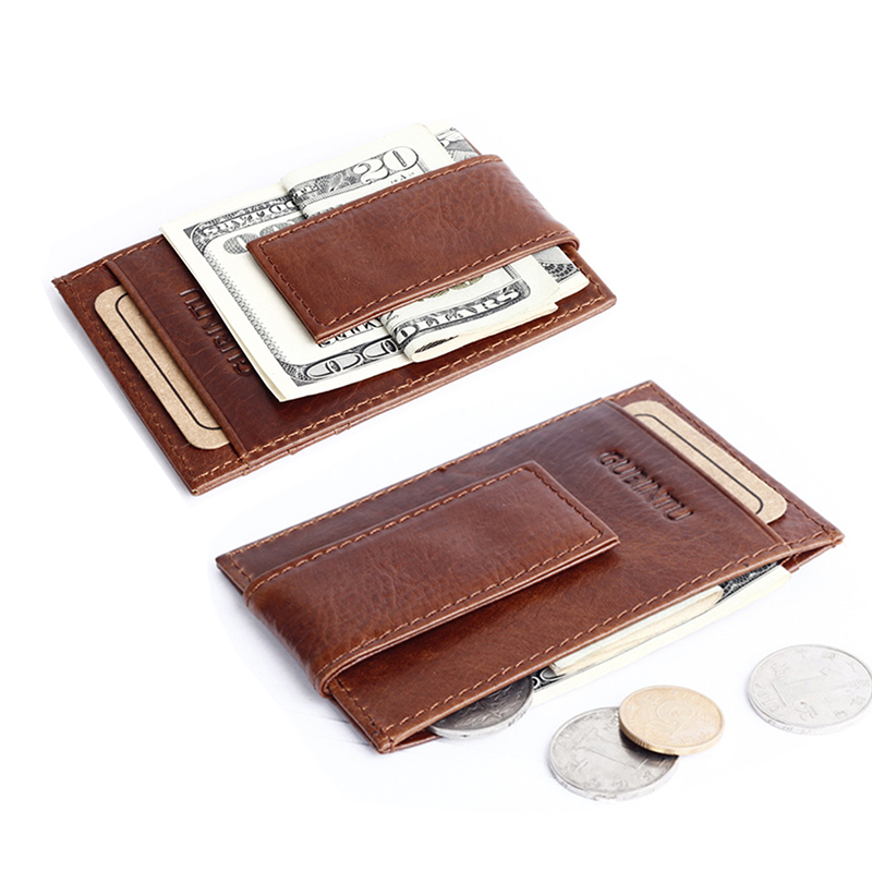 High Quality genuine leather money clip wallet famous brand purse with clip vintage men clamp for money crazy horse money holder(China (Mainland))