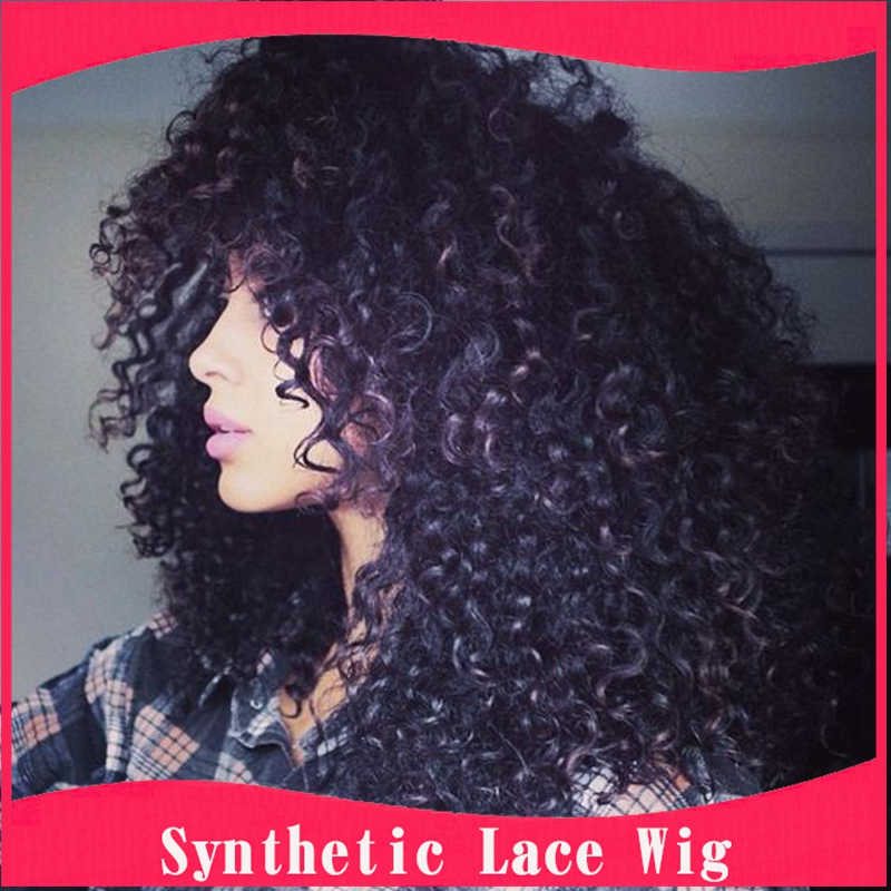 Factory Low Price Afro Kinky Curly Synthetic Lace Front Wig Heat Resistant Afro Wigs Beauty Lace Wigs For Black Women American<br><br>Aliexpress