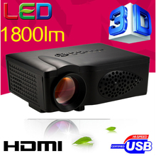 Cheaper 1800lumens HD HDMI USB 1080p Home theater Led LCD Portable Mini movie Projector Digital Video 3D Proyector beamer(China (Mainland))