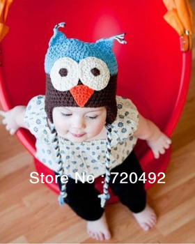 Free shipping Baby Hats handmade baby spring Crochet Hat OWL Beanie Multi Color Infant Animal Design caps infant hat 30pcs