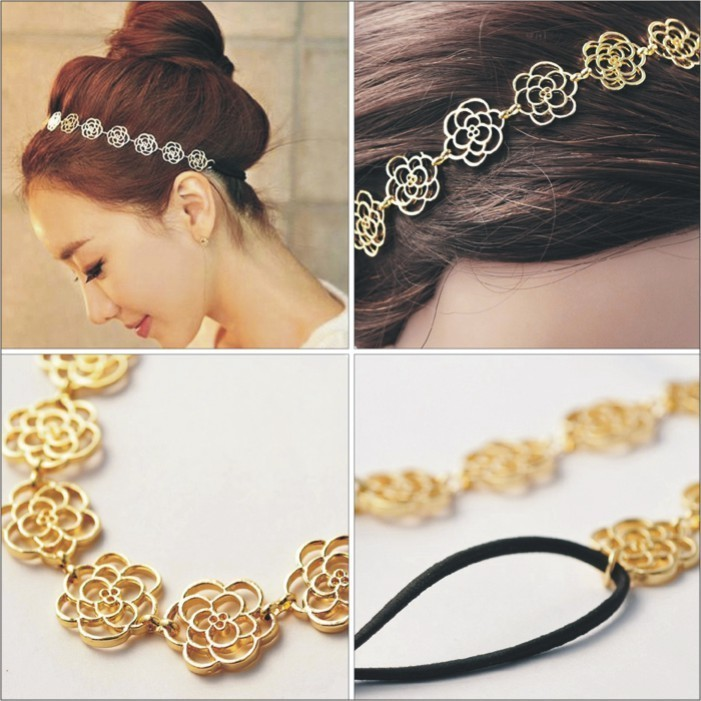 Lovely Cute Girl Headband Rubber Band Headwear with Exquisite Carve Flower Hair Band Headband Necklace(China (Mainland))