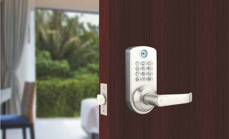 Digital Pin Code I-Button Door Lock Right Handle Silver