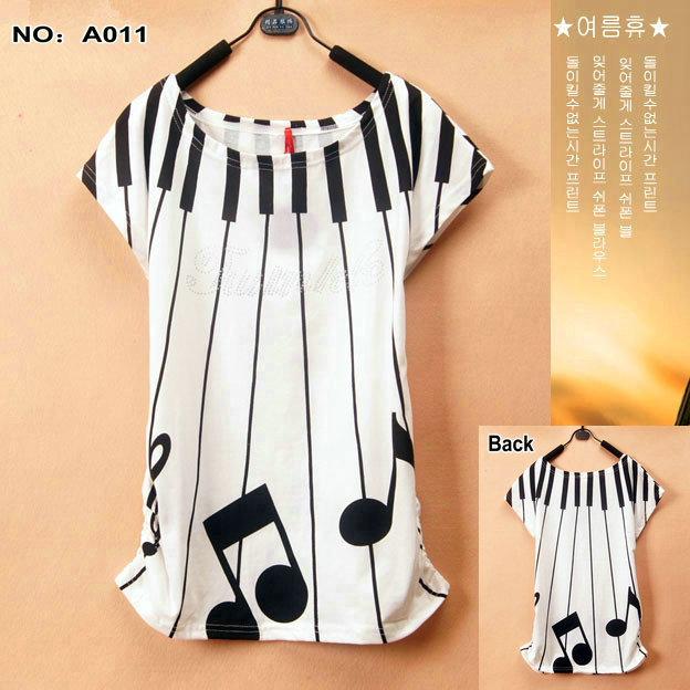 A011 2015 tops tees musical note music loose color plus size t-shirt female formal women - Lanmo store