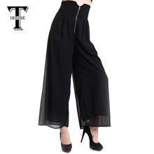 T-inside новое поступление марка свободного покроя широкий женские широкие брюки ноги черные длинные брюки палаццо широкий брюки S / M / L Большой размер DSB-500