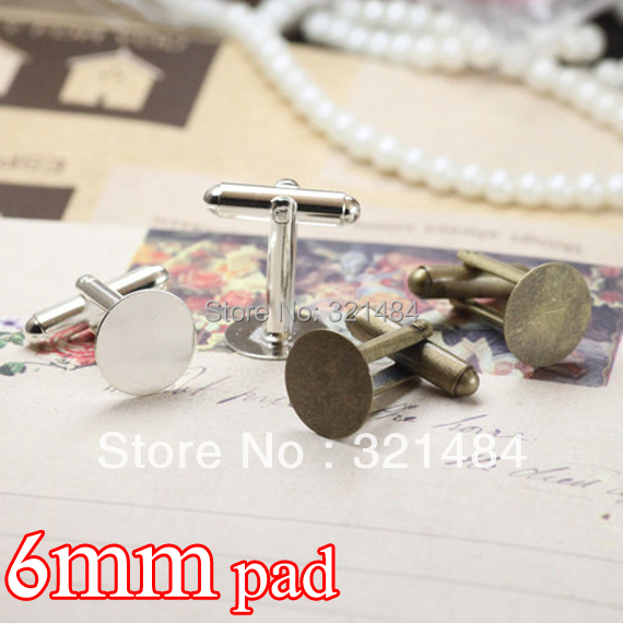 wholesale color can pick up 200pcs/lot 6mm glue pad cufflinks bezel cuff links base blanks for jewelry making
