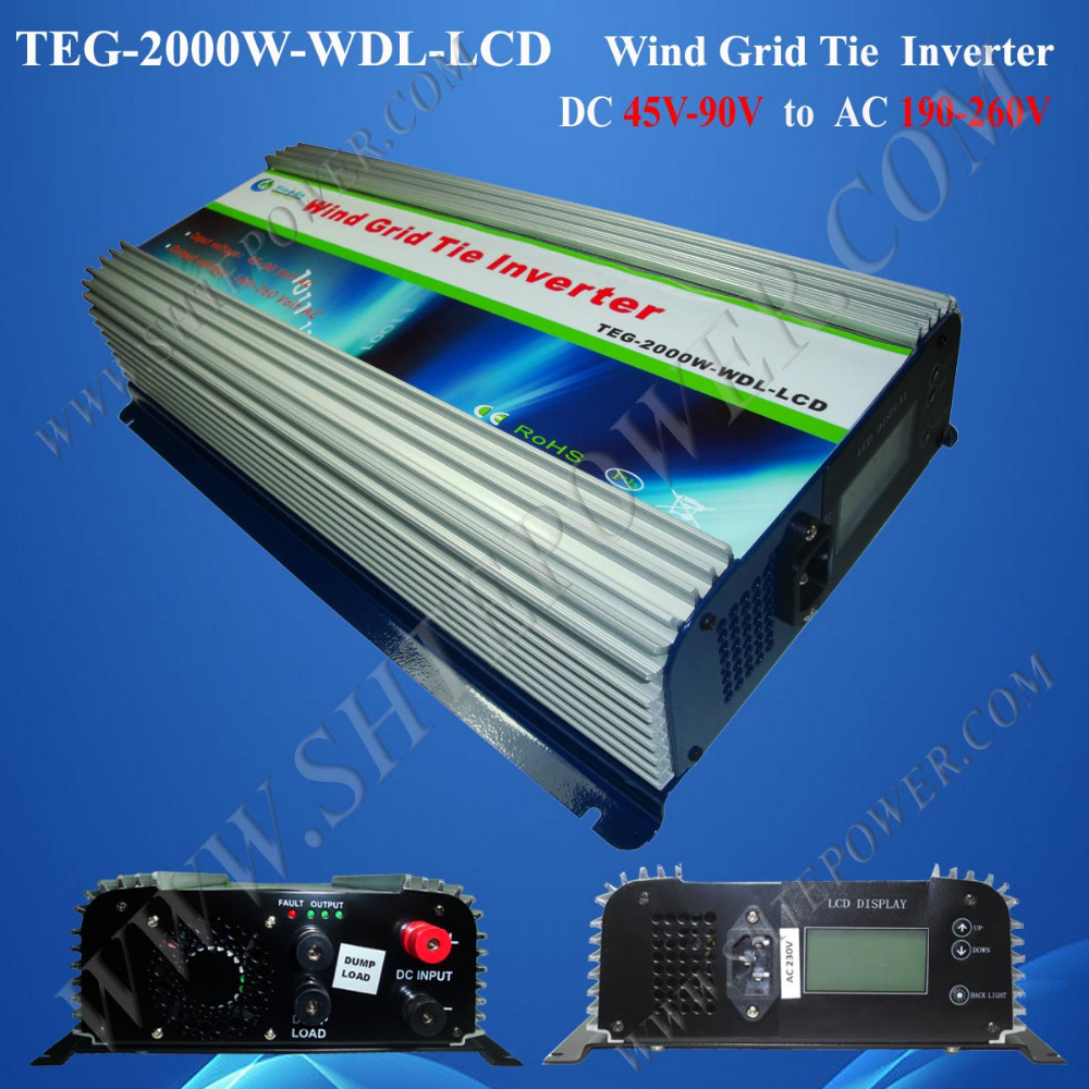 Wind Turbine Dump Load 2000W Wind Generator Grid Tie Inverter With Meter-LCD DC 45-90V to AC 190V-260V(China (Mainland))