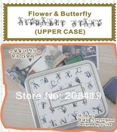 Wooden  letters Antique Alphabet seal Stamps flower butterfly Handwriting diary carved gift craft toy 28PC/set wholesale retail