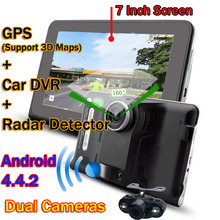"7"" Screen 16GB Full HD1080P Wifi Vehicle Car DVR Camera GPS Navigation Android 4.4 Radar Detector Dash Cam Dual Cameras Free Map(China (Mainland))"