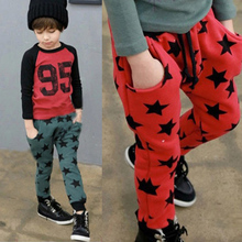 low price Toddler Boys Casual Long Pants Stars Pattern Cotton Bottoms Trousers Free Shipping