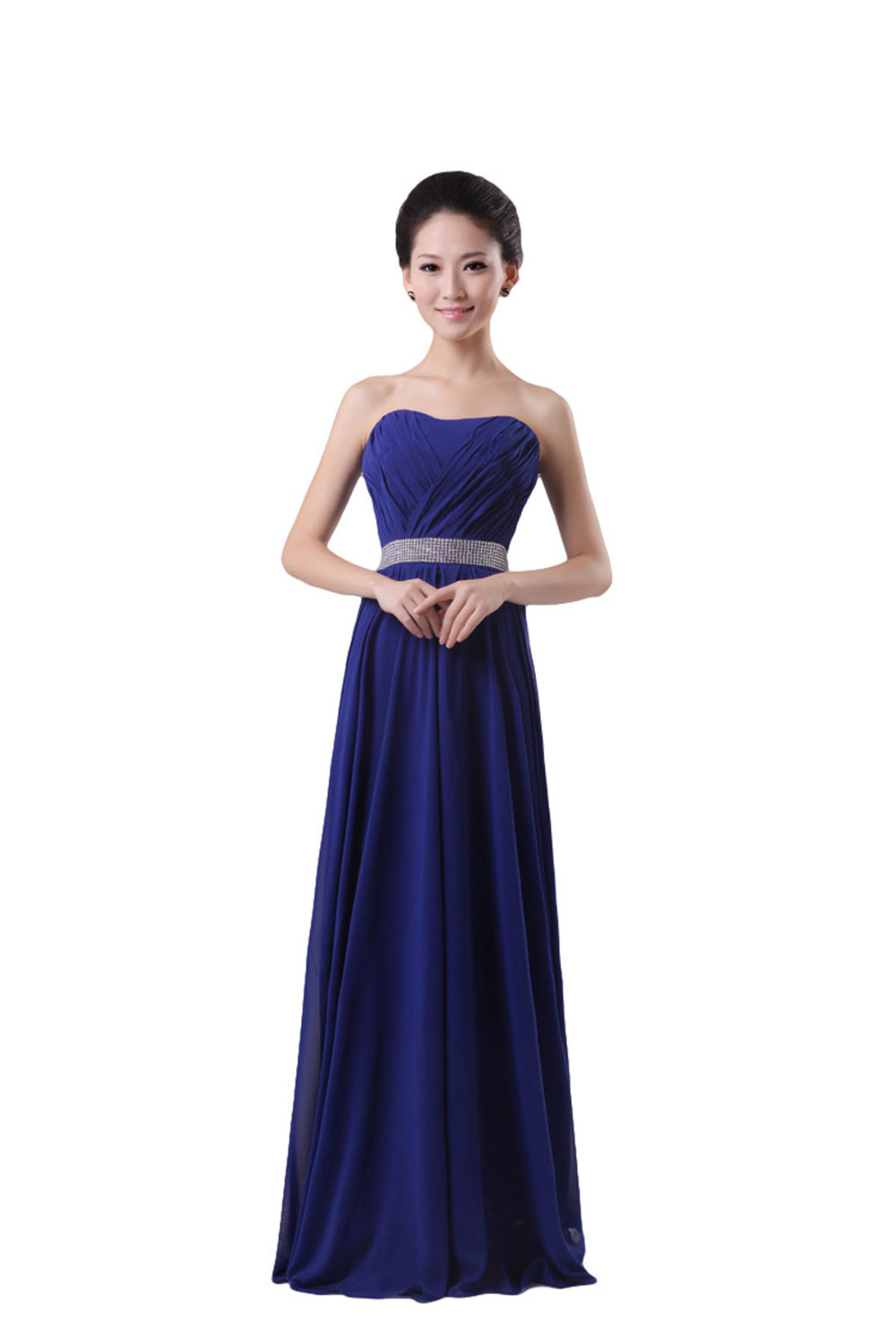 Sexy strapless beading bridesmaid dresses 2014 long for Cheap strapless wedding dresses