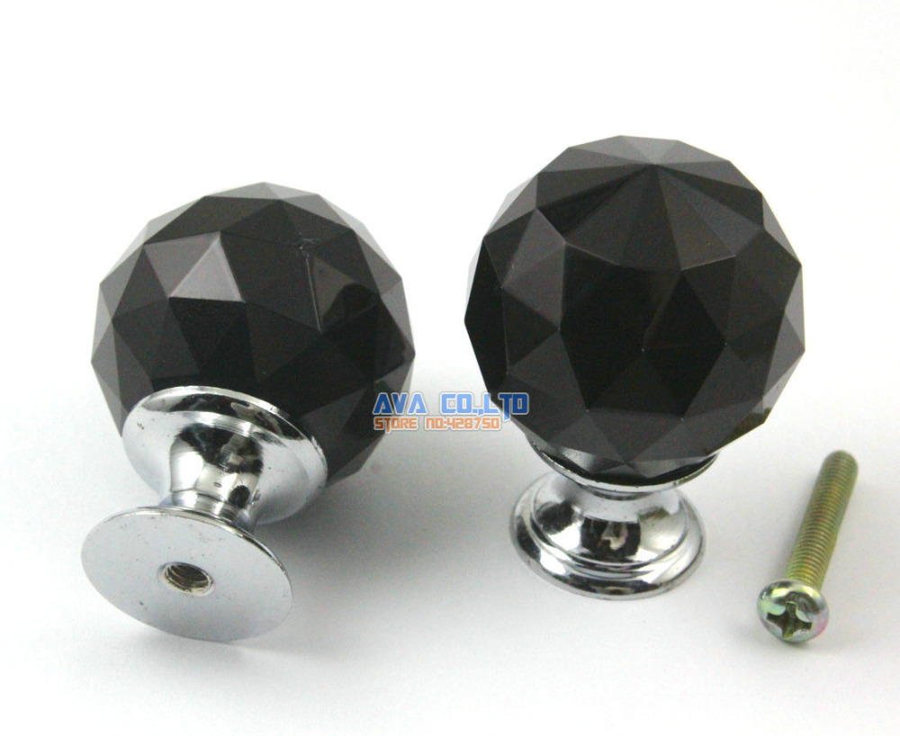 K9 Black Round Cabinet Drawer Crystal Glass Knobs / Pull 30mm  [Free Shipping]<br><br>Aliexpress