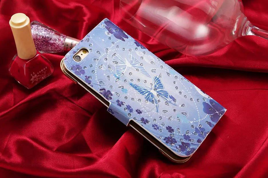 Luxury Diamonds Mobile Phone Lather case For Apple iPhone 6plus 6Splus Cases Duos Luxury Flip Cute Brand Wallet Original Cover