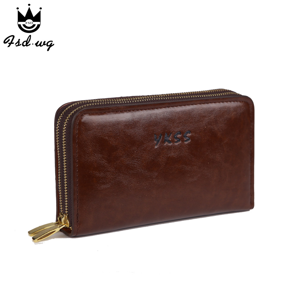 2016 new men wallets big capacity genuine pu leather mens wallets men's long double zipper clutch purse famous brand wallet bag(China (Mainland))