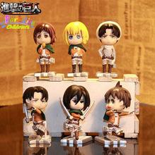 6Pcs/lot 7.5CM Attack On Titan shingeki no kyojin Mikasa Ackerman Levi Eren PVC action figure Q version Collectible Model Toy