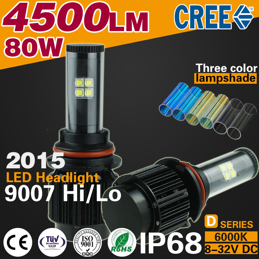 2016 4500lm 80w Integrated CANBUS Car LED Headlight 9007 HB5 high low beam H4 H1 H3 H7 H13 9005 D1 D2 880 lamp far better xenon(China (Mainland))