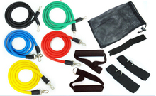 Free shipping 11pcs/set Latex Resistance Bands Fitness Exercise Tube Rope Set Yoga ABS Workout Fitness