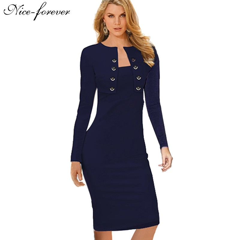 Winter dress Long Sleeve 2014 Button office business Elegant Womens wear to  work Vintage Pinup Bodycon Evening party Dresses 844164534523