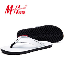 Flip Flops Men Real Leather Summer Sandals For School Street Casual Walking Seaside Beach Soft Non-slip Bottom Stylish Flats(China (Mainland))