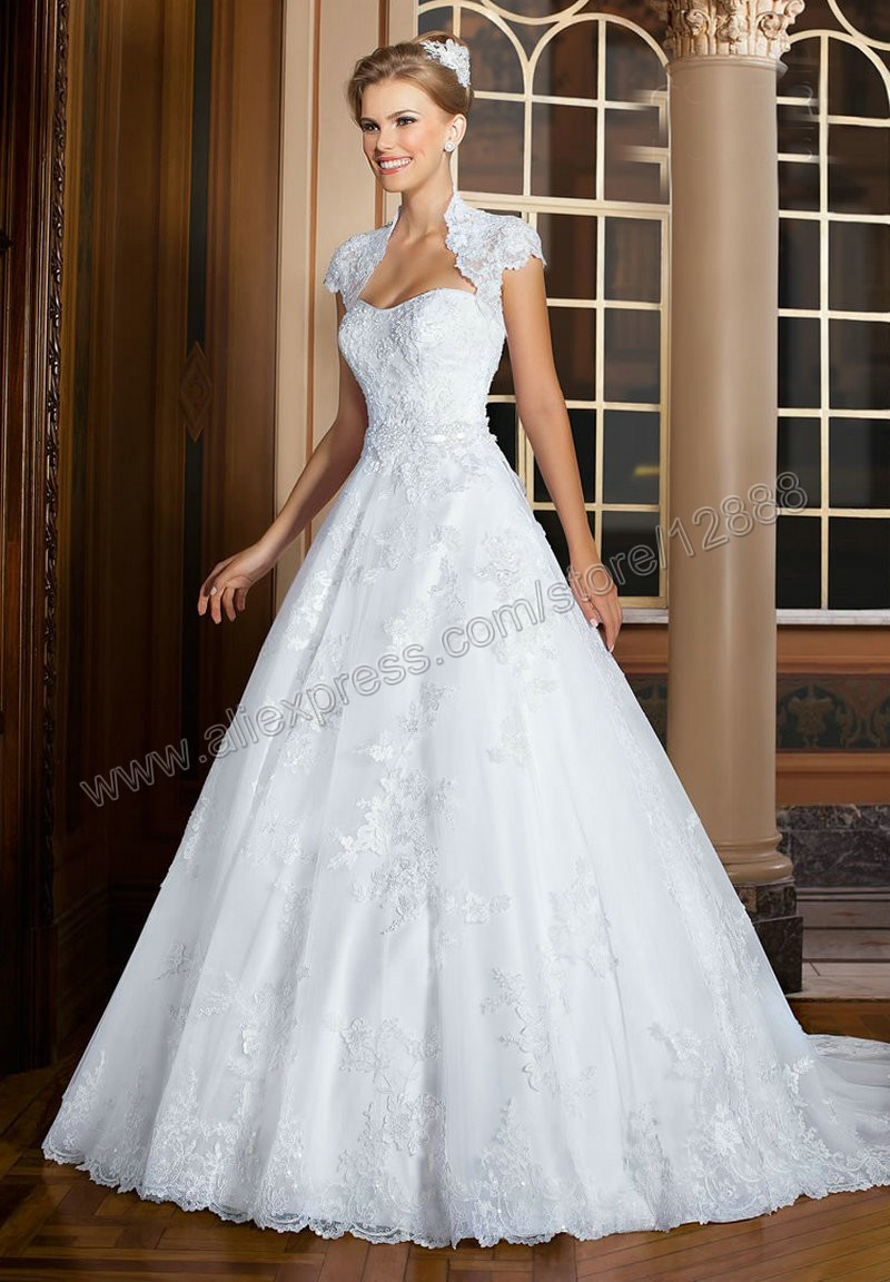 Women wedding dresses white lace with jacket ball gown for Womens dress jacket wedding