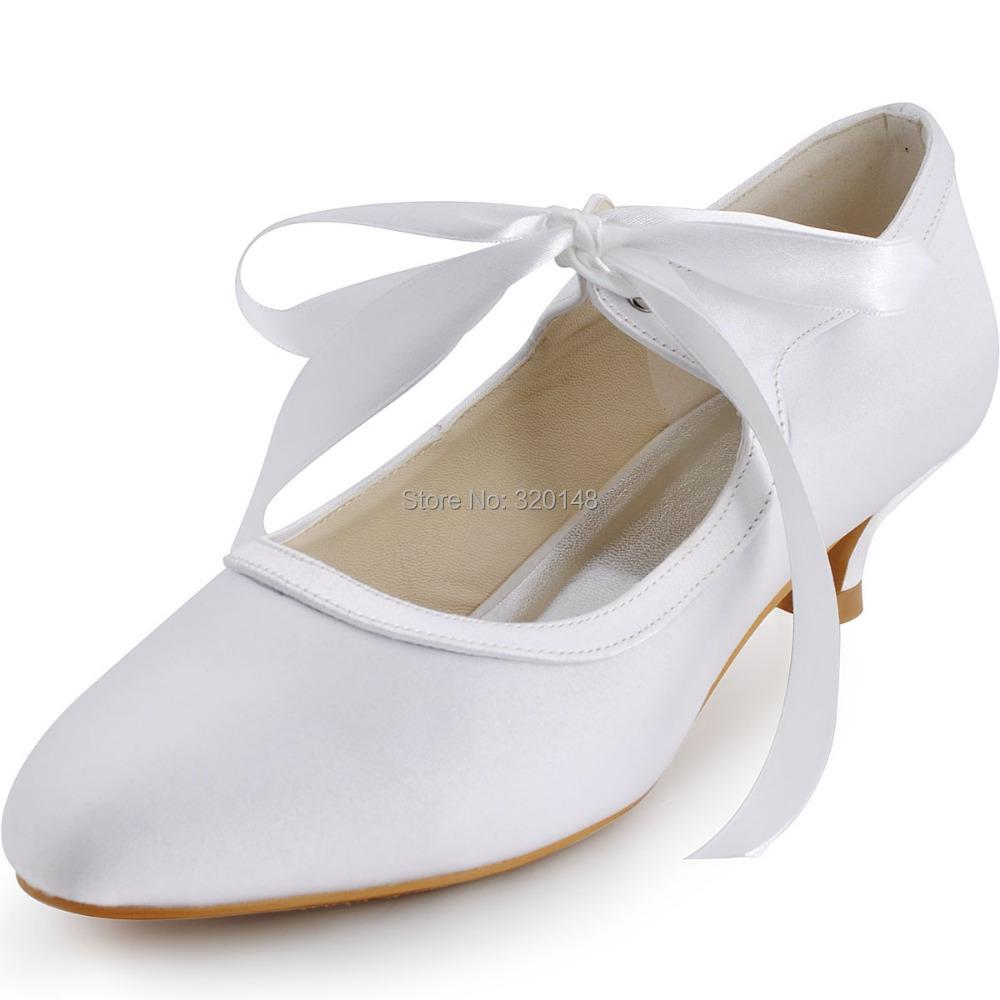 Free Shipping 2014 Elegant EP41017 Women White Almond Toe Pumps Low Heel Straps Satin Wedding Shoes<br><br>Aliexpress
