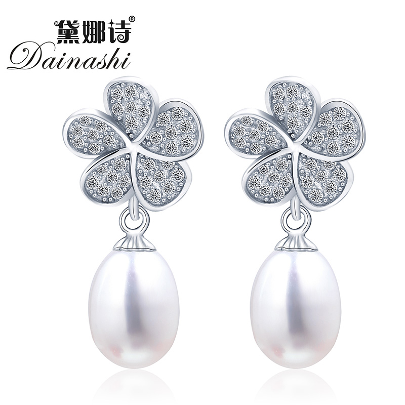2016 new fashion flower pearl earrings jewelry for women 100% natural freshwater pearl Cubic Zircoin with 925 sterling silver(China (Mainland))