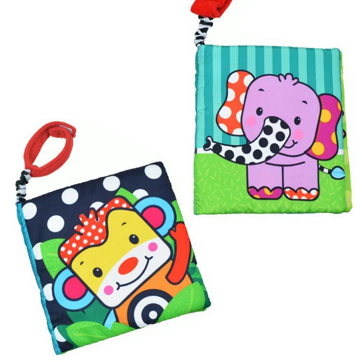 1 pcs Elephant / monkey Multifunctional Baby Cloth Book Early Education colorful animals book(China (Mainland))