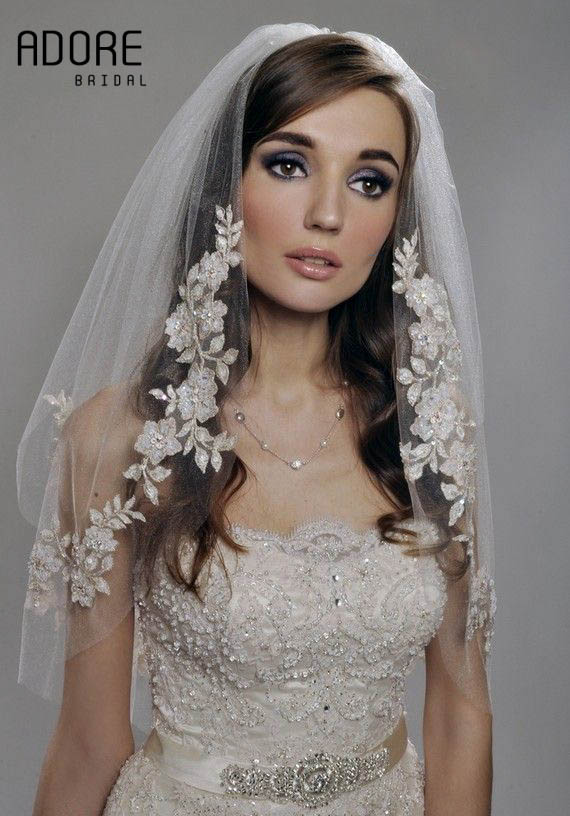 Elbow length Haute Couture short velo de novia Two layers wedding Mantilla tulle Bridal Veils Accessories comb(China (Mainland))
