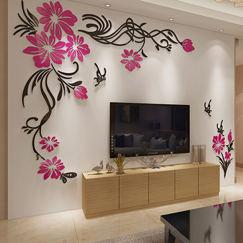 Large tv background wall decorations beautiful flower vine for Beautiful home decorations