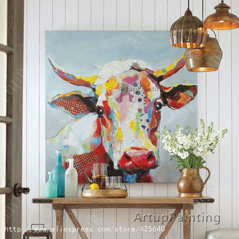 Cow Oil painting On Canvas Wall Animal Paintings For Living Room Wall Art Canvas plattle knife modern abstract hand painted(China (Mainland))
