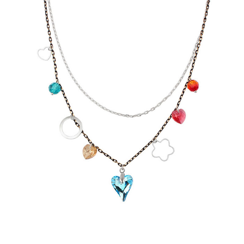 Red Trees Fine Jewlery Luxury Crystal Heart Pendant Multi-layer Necklaces Gold Plated For Women / Girls High Quality Box Package(China (Mainland))