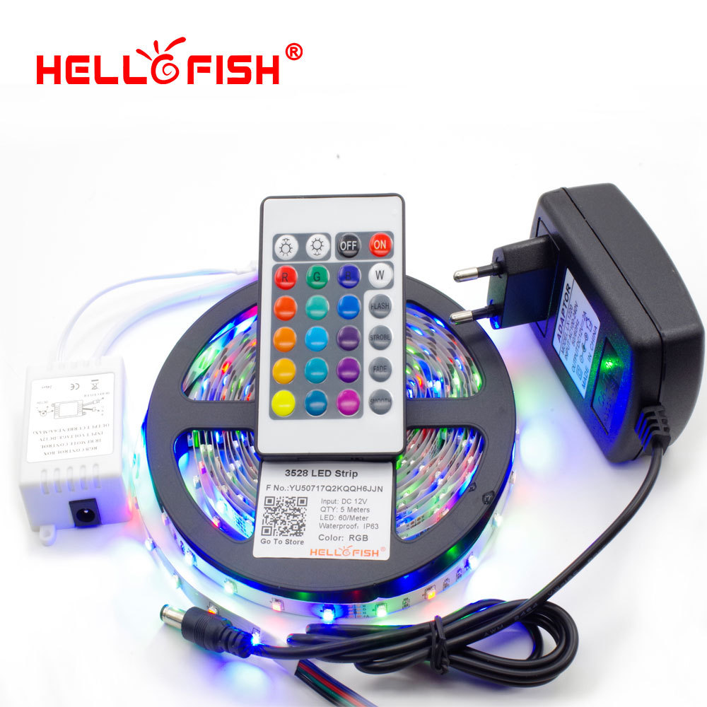 Hello Fish 5M 3528 300 SMD Flexible LED Strip Light + 24 keys IR Remote Controller +12V 2A Power Adapter Free Shipping(China (Mainland))