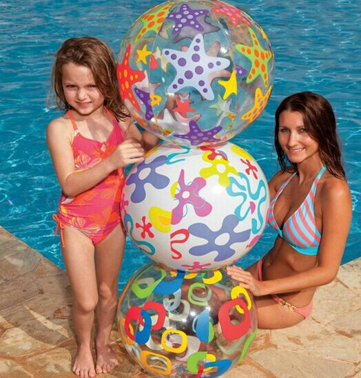 51CM Multicolor Kids Inflatable Transparent Beach Ball Outdoor Sports Children's Play Ball Toys random color(China (Mainland))